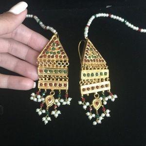 INDIAN BRIDAL GOLD KUNDAN STONE PEARL EARRINGS